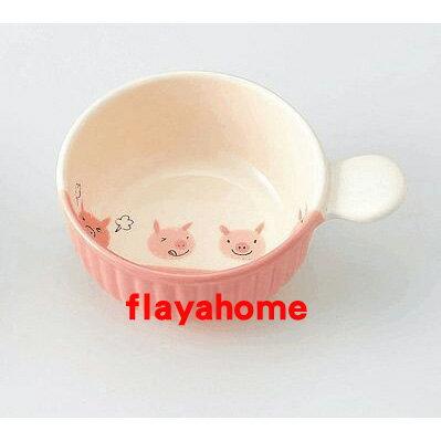 《富樂雅居》日本製 萬古燒 小豬 陶瓷焗烤盤 (圓)
