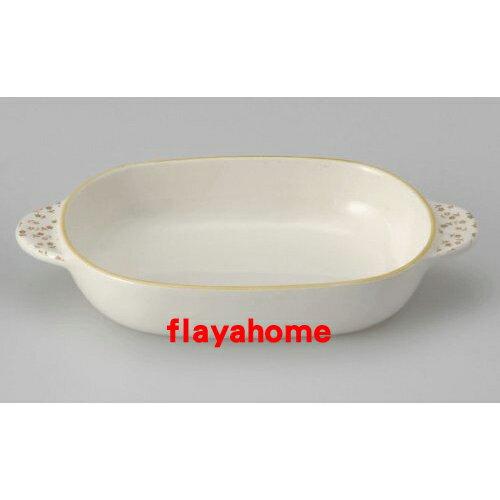 《富樂雅居》日本製 萬古燒 小花橘邊 陶瓷焗烤盤 烤缽 (橢圓)
