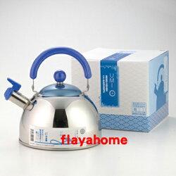 《富樂雅居》日本製 吉川金屬 不鏽鋼 和風 亮彩 水壺 茶壺 笛吹壺 笛音壺 ( 海洋藍 / 2.5L / 18-8 )