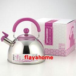 《富樂雅居》日本製 吉川金屬 不鏽鋼 和風 亮彩 水壺 茶壺 笛吹壺 笛音壺 ( 牡丹紫 / 2.5L / 18-8 )