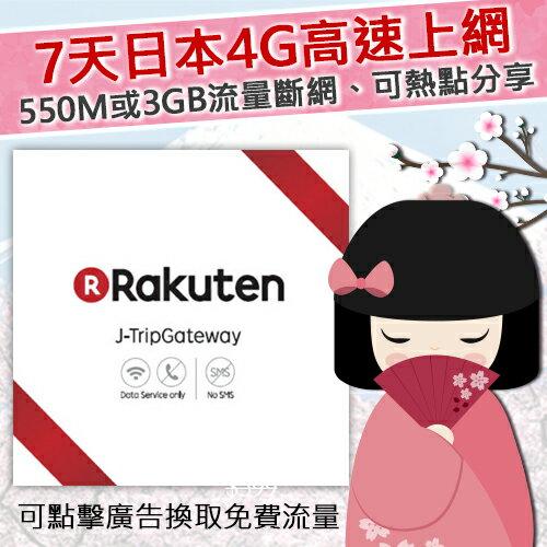 日本樂天Rakuten上網卡 /7天日本高速上網/上網日本sim卡*最後開卡期限2018/07/31*/可點取廣告賺免費上網流量
