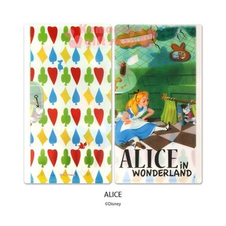 〔小禮堂〕迪士尼 愛麗絲 日製口罩收納夾《綠白.時鐘兔.坐姿.叉腰》抗菌材質