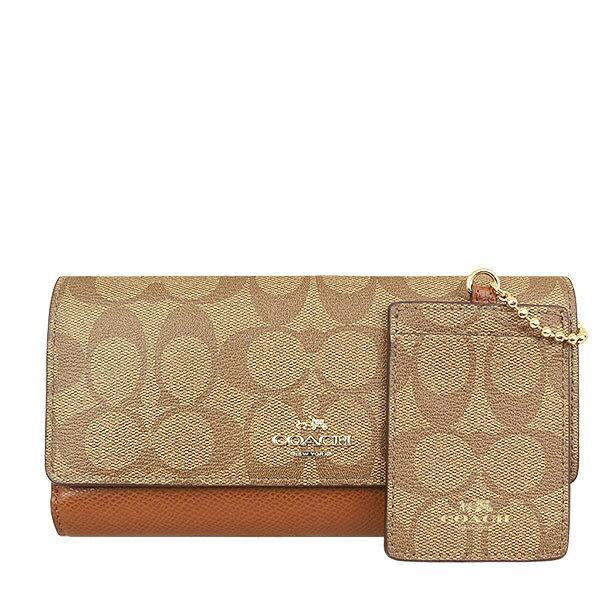 【限量秒殺】COACH 53763 女士雙C紋長款錢包錢夾手拿包