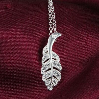 ~925純銀項鍊 鑲鑽吊墜~精美樹葉 吸睛情人母親節 女 73ax15~ ~~米蘭 ~