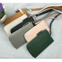 韓國 東大門新款 素面皮革拉鍊掛頸包手機包零錢包(6色)【庫奇小舖】 0