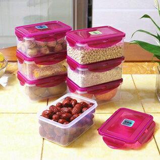 廚房保鮮盒六件套塑料飯盒水果微波便當盒冰箱收納密封盒 聖誕節全館免運
