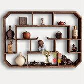 壁掛茶具架 茶壺茶具架子置物架紫砂壺展示架壁掛牆上客廳裝飾博古架實木中式T 聖誕節全館免運