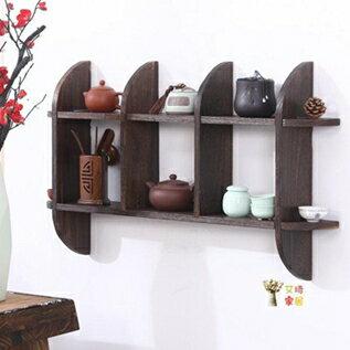 壁掛茶具架 壁掛式小博古架實木中式多寶閣掛牆茶壺茶具展示架置物架簡約現代T 聖誕節全館免運