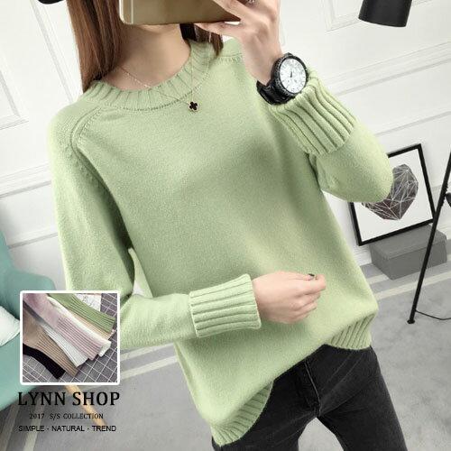 針織毛衣純色圓領折袖針織毛衣7色【K-17-0010】LYNNSHOP