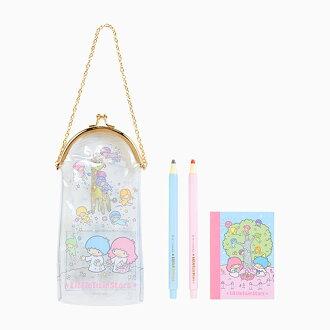 【真愛日本】17081700011 透明珠扣鍊袋文具組-TS與小仙子+ABA 三麗鷗家族 Kikilala 雙子星 文具 收納袋 筆袋