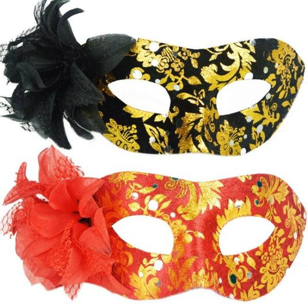塔克玩具百貨:平頭圍邊包布側花面具面具面罩威尼斯花紋包布面具眼罩cosplay表演舞會【塔克】