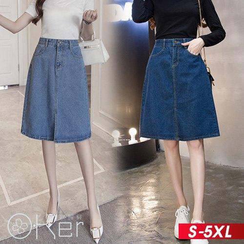開叉中長半身牛仔裙S-5XLO-ker歐珂兒165001