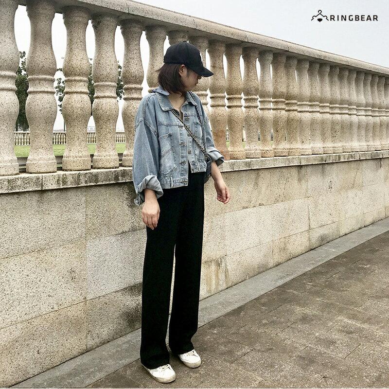 直筒褲--超顯瘦時尚優雅墬感寬鬆百搭鬆緊高腰直筒長褲(黑S-5L)-P146眼圈熊中大尺碼 9