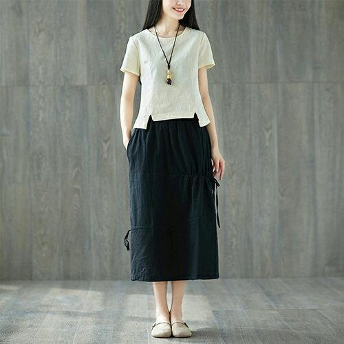棉麻套裝文藝小清新上衣+ 繫帶中長裙(2色M~2XL)【OREAD】 1