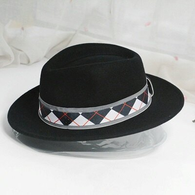【米蘭精品】羊毛呢帽爵士帽-街頭時尚菱紋織帶女帽子73tk44