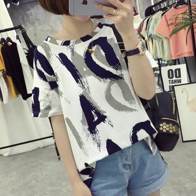 短袖T恤  水彩刷色字母圓領短袖T恤   2色 ~T~17~0027~LYNNSHOP