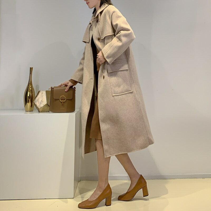 毛呢大衣羊毛外套-長版純色單排扣寬鬆女外套2色73wb47【獨家進口】【米蘭精品】 1