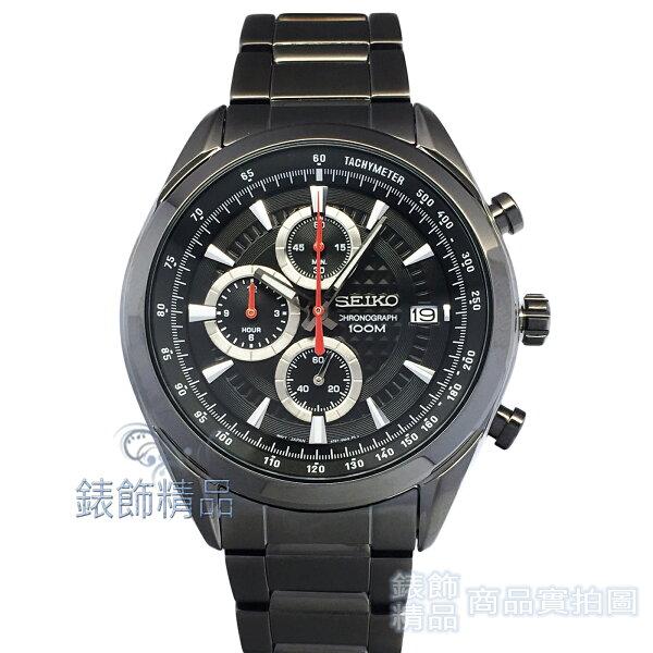錶飾精品:【錶飾精品】SEIKOSSB179P1精工表三眼計時日期黑面鍍黑鋼帶男錶8T67-00A0SD全新原廠正品