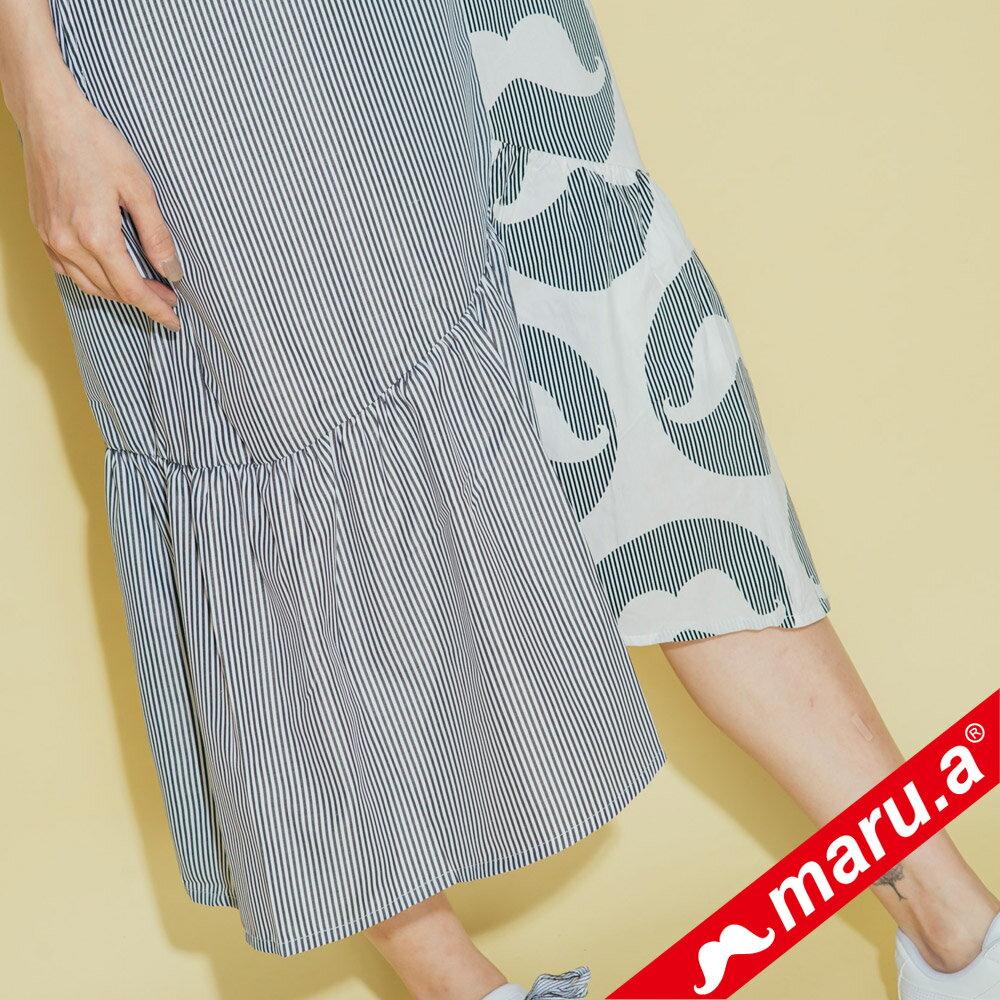 【maru.a】鬍子泡泡條紋拼接洋裝(2色)8327119 5
