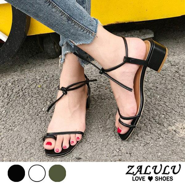 ZALULU愛鞋館 7FE244 現貨 綁帶套趾細帶粗跟涼鞋-米/綠/黑-35-39