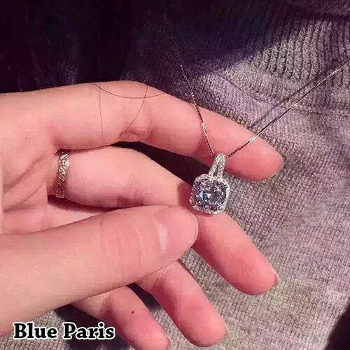 項鍊 - 韓版方形滿鑽簡約設計鎖骨練【21550】 藍色巴黎-現貨+預購  【防過敏】 0