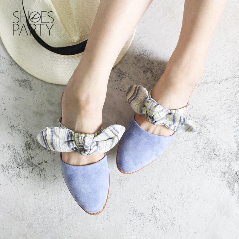 【S2-18609L】異素材蝴蝶穆勒鞋_Shoes Party 1