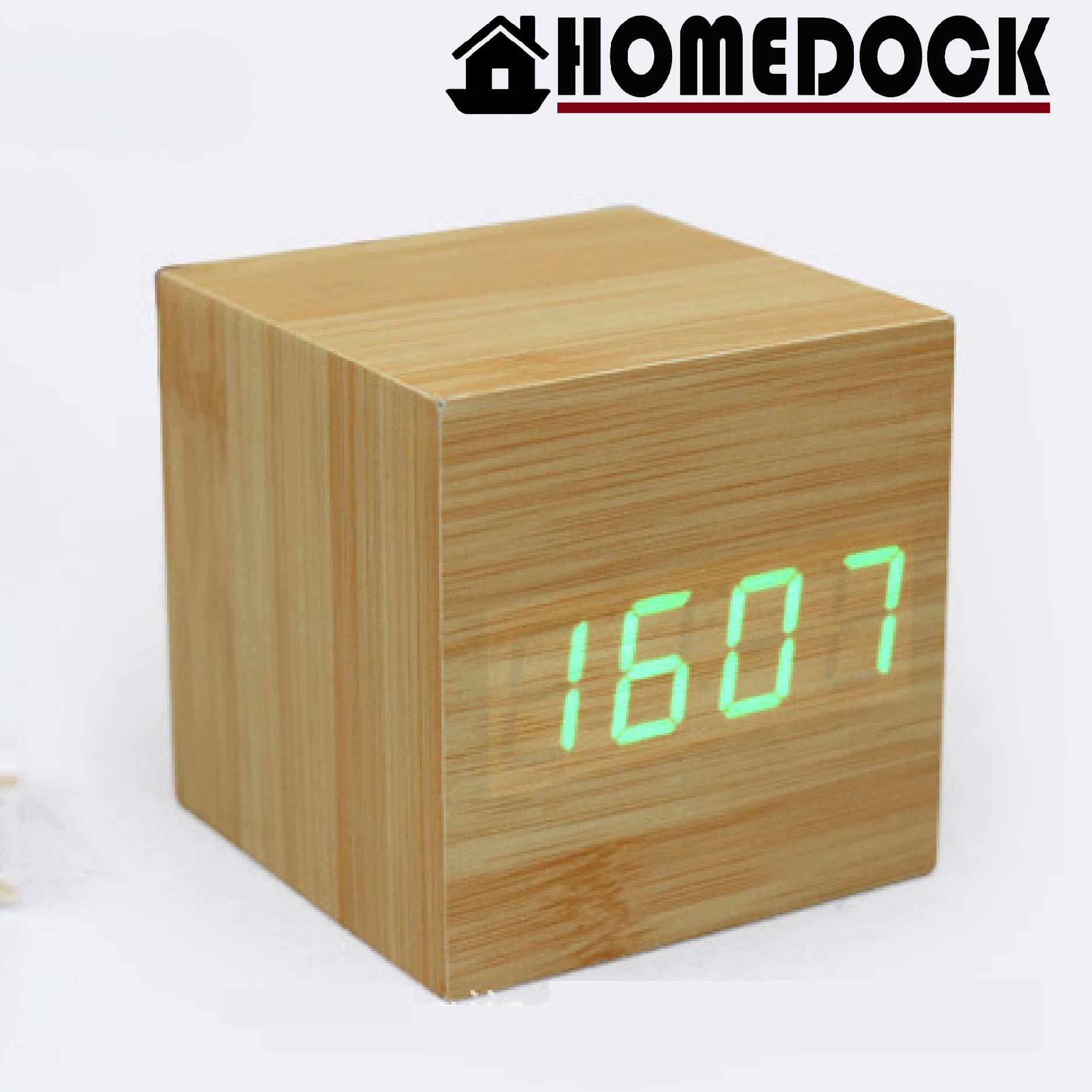 HOMEDOCK-LED 方形聲控木質感鬧鐘 附溫度計時鐘/錶/桌鐘/電子鐘/LED木頭鐘/