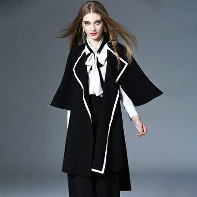 ★風衣外套棉質大衣-黑白拼色蝙蝠袖長款女外套73pk9【獨家進口】【米蘭精品】 0