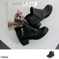 包鞋- MIT復古感側V拉鍊經典高跟踝靴【011600073】-預購 0