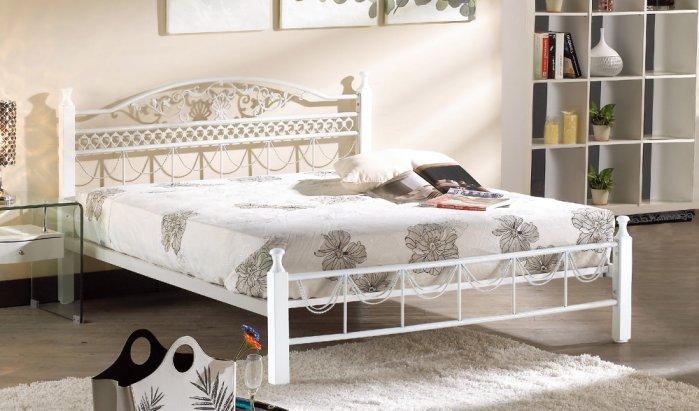【尚品家具】JF-588-3 艾爾3.5尺白色單人鐵床(不含床墊)