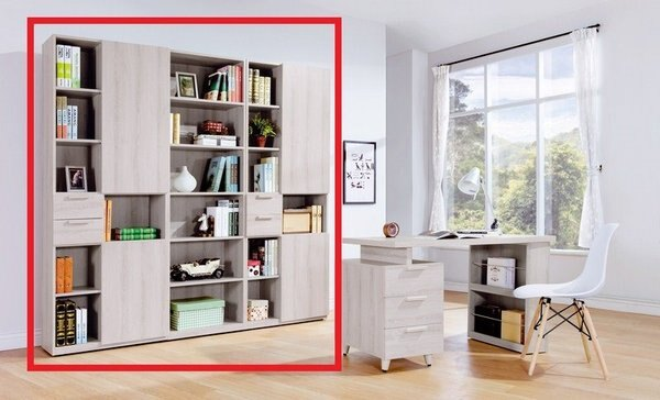 【石川家居】YE-A501-01珊蒂7尺系統式組合書櫃(不含其他商品)台北到高雄搭配車趟免運