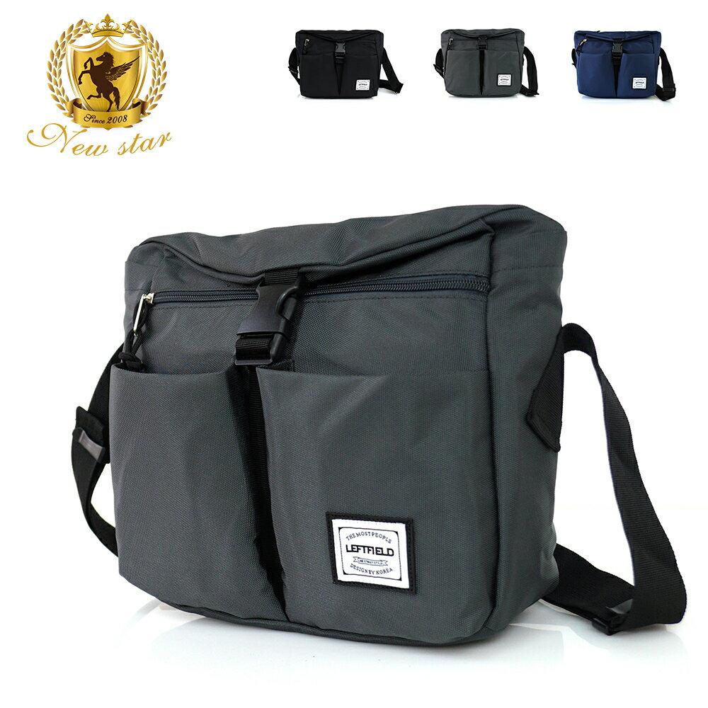 側背包 時尚簡約防水前扣雙口袋斜背包包 NEW STAR BL134 1