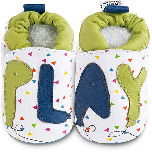 【hella 媽咪寶貝】英國 shooshoos 健康無毒真皮手工鞋/學步鞋/嬰兒鞋 玩樂時光 102829 (公司貨)