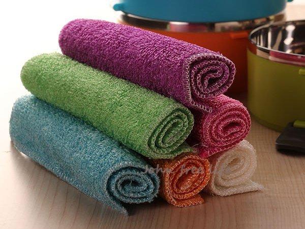 約翰家庭百貨》【CA090】純天然竹纖維雙層不沾油抹布 洗碗布 洗碗巾 隨機出貨