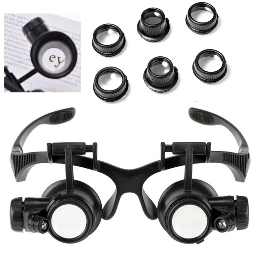 10X 15X 20X 25X Jeweler Watch Repair Magnifying Double Eye Glasses Loupe Lens LED Light 0