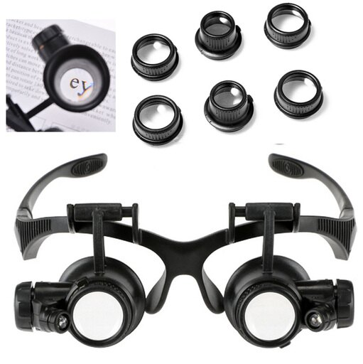 10X 15X 20X 25X Jeweler Watch Repair Magnifying Double Eye Glasses Loupe Lens LED Light 8aab83774aa463a8805801f7d812234c