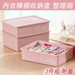 加厚內衣褲襪收納盒三件組 整理箱 桌面收納(附蓋)