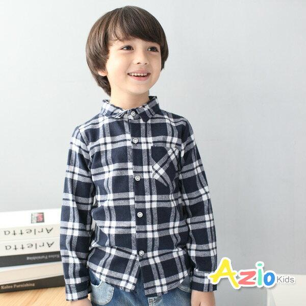 《Azio Kids 美國派 童裝》襯衫 雙線格紋配色單口袋長袖襯衫(藍)