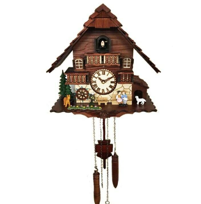 樂天優選 快速出貨 布穀鳥掛鐘客廳家用報時咕咕鍾德國黑森林創意藝術實木鐘錶2622