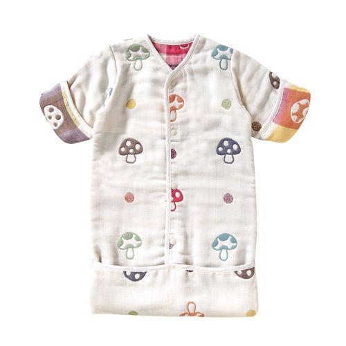 現貨!日本Hoppetta專賣店帶回!蘑菇六層紗3WAY包腳睡袍(0-3歲)