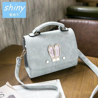 【P117】shiny藍格子-時尚出眾‧新款可愛兔耳朵迷你斜跨單肩手提包