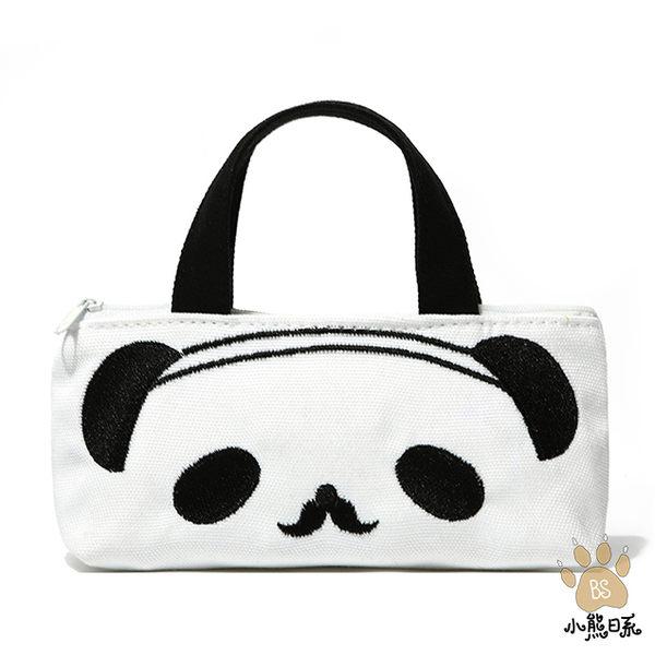 小熊日系* 歐吉胖 熊貓 團團圓圓 手提 小提袋 收納包 化妝包 萬用袋 黑色