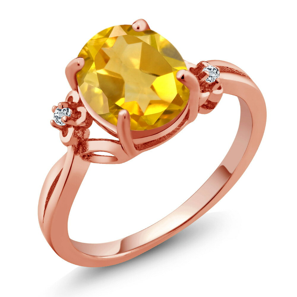 2.04 Ct Oval Yellow Citrine White Topaz 18K Rose Gold Plated Silver Ring 0