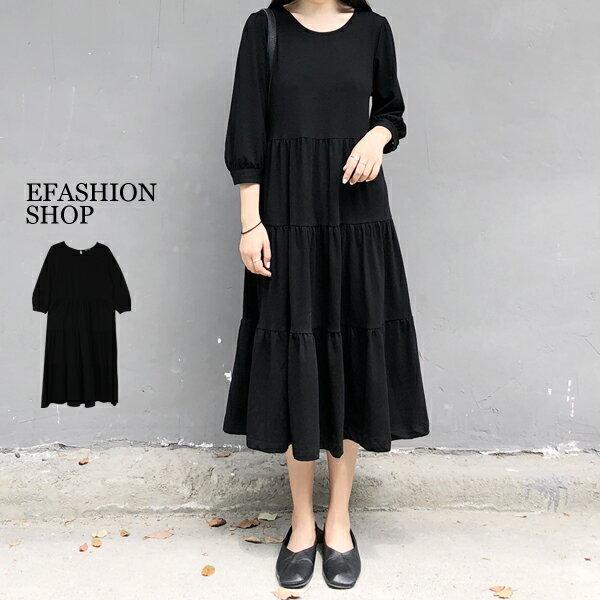 蛋糕裙襬棉質長洋裝-eFashion預【H16556025】