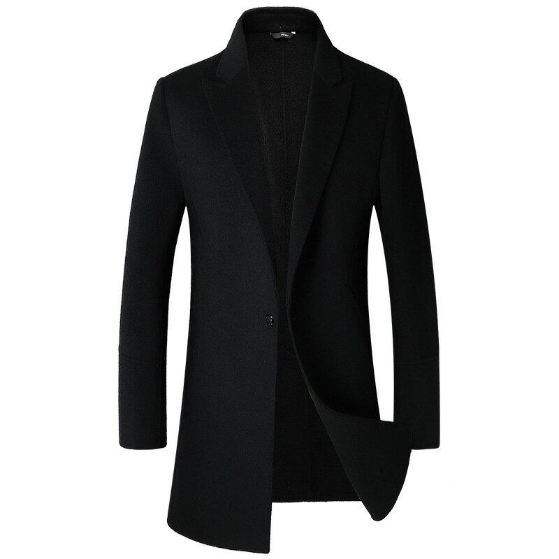 毛呢大衣中長版風衣-羊毛單粒扣純色修身男外套5色73wk39【獨家進口】【米蘭精品】 0