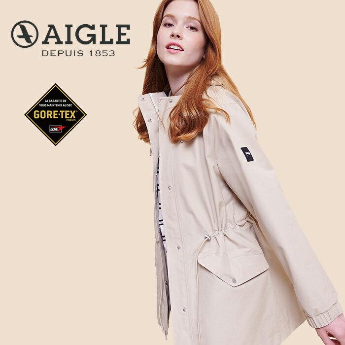 【AIGLE 法國】ANIKER GORE-TEX 防水外套 防水透氣外套 風衣 女款 卡其色 (AG-0A209-A150)