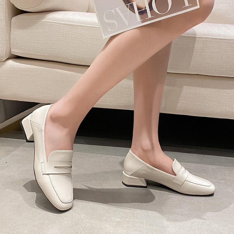 英倫風小皮鞋女2021春季新款高跟鞋女粗跟方頭單鞋女外穿樂福女鞋