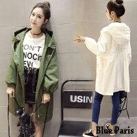 外套推薦到風衣 -韓版連帽抽繩寬鬆長版外套【28100】《4色》 Blue Paris