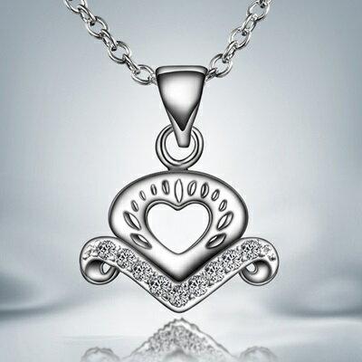 925純銀項鍊 鑲鑽吊墜~獨特 愛心迷人生日母親節 女 73ax23~ ~~米蘭 ~