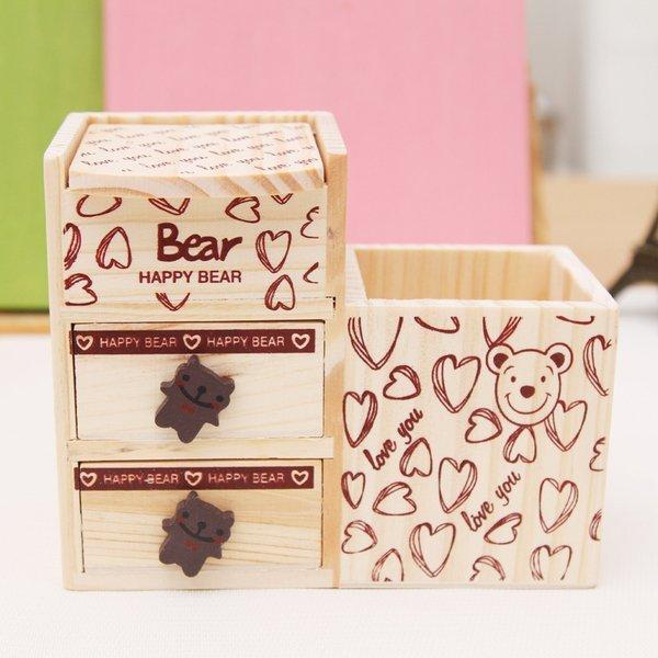 BO雜貨:BO雜貨【SV9547】韓版木製筆筒快樂愛心小熊抽屜筆筒辦公用品文具收納